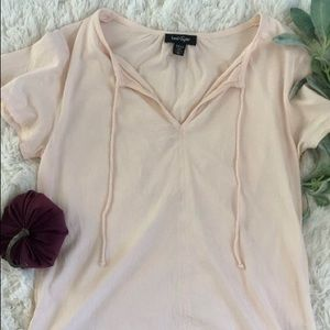 Lord & Taylor Light Pink Split Neck Tee